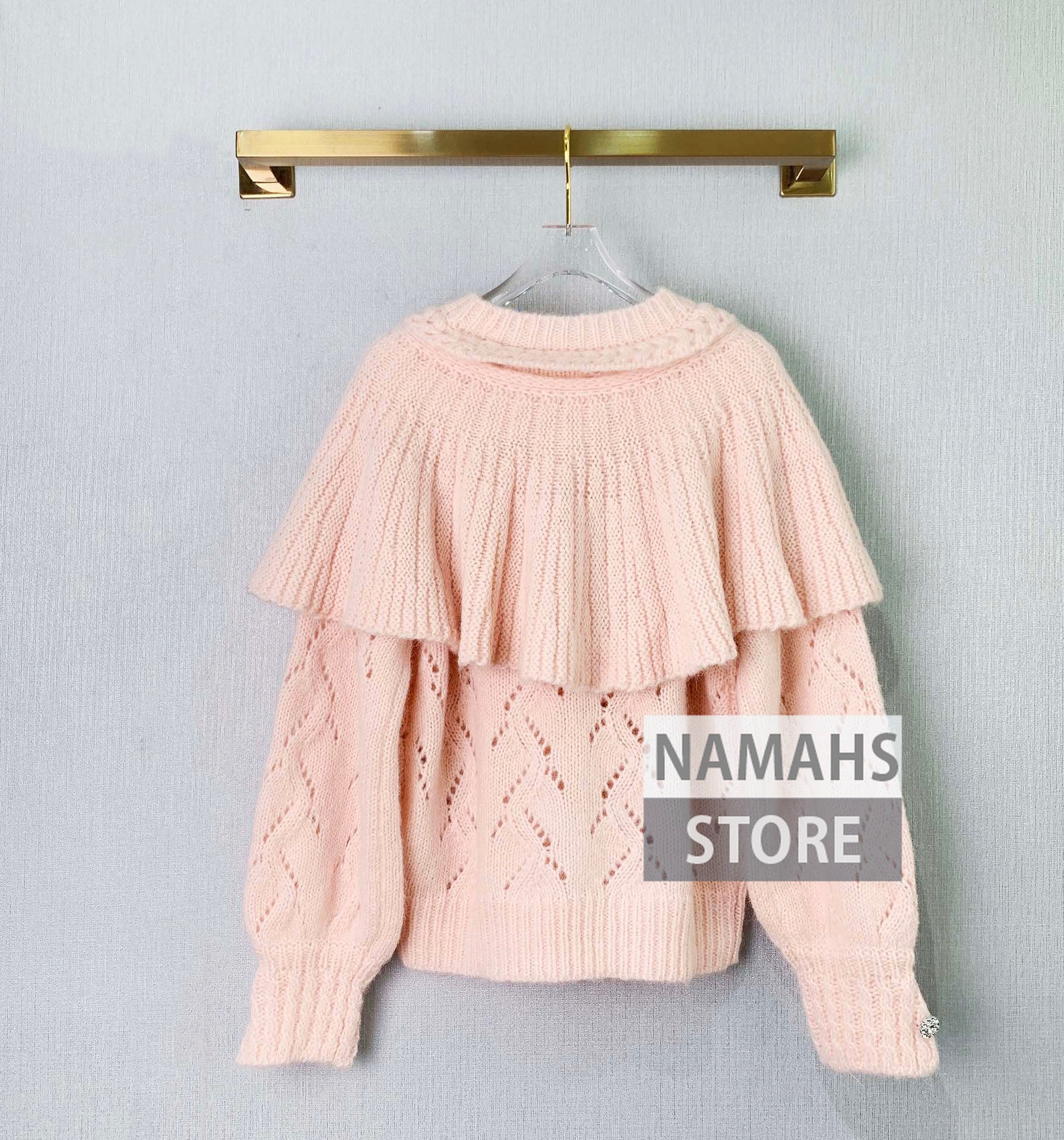 fall 2021 clothes women fashion sweater hollow out peter pan collar ruffle design pullover high end wool jumper woman sweaters enlarge