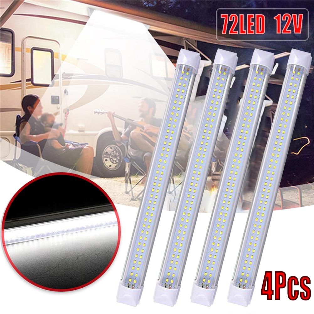 Barra de luces LED Interior 4 Uds 72, luces de lectura para el auto Van, autobús, caravana, interruptor de encendido/apagado 12 V 12 voltios