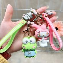 Dessin animé mignon vert grenouille porte-clés KT chat Kuromi porte-clés dame fille sac à breloques pendentif porte-clés voiture nouveau porte-clés bijoux cadeau