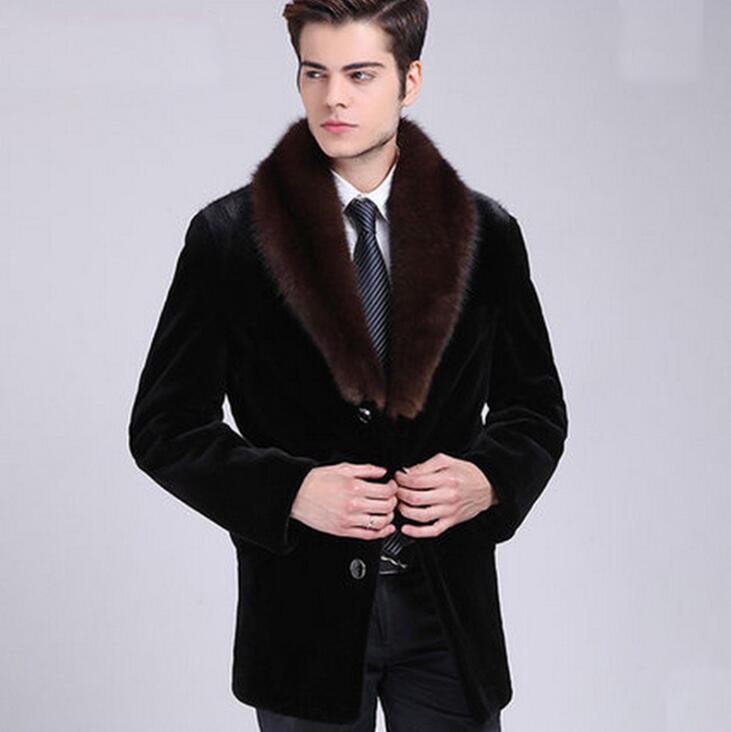 سترة جلدية من فرو المنك الأسود للرجال, معطف جلد دافئ من الفرو الصناعي للرجال ، سترات فضفاضة للشتاء والخريف