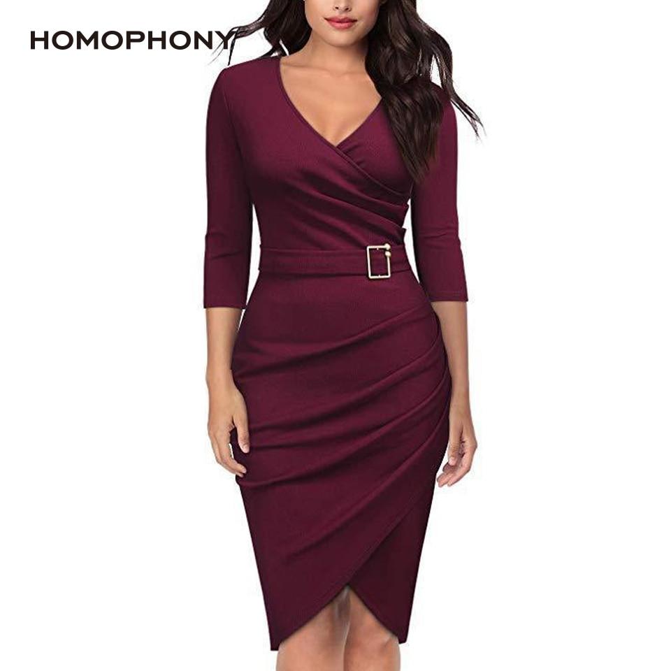 HOMOPHONY Women Dress Office V Neck Sexy Dress Autumn Long Sleeve Ladies Dress Bodycon Summer Dress 2020 Plus Size vestidos robe