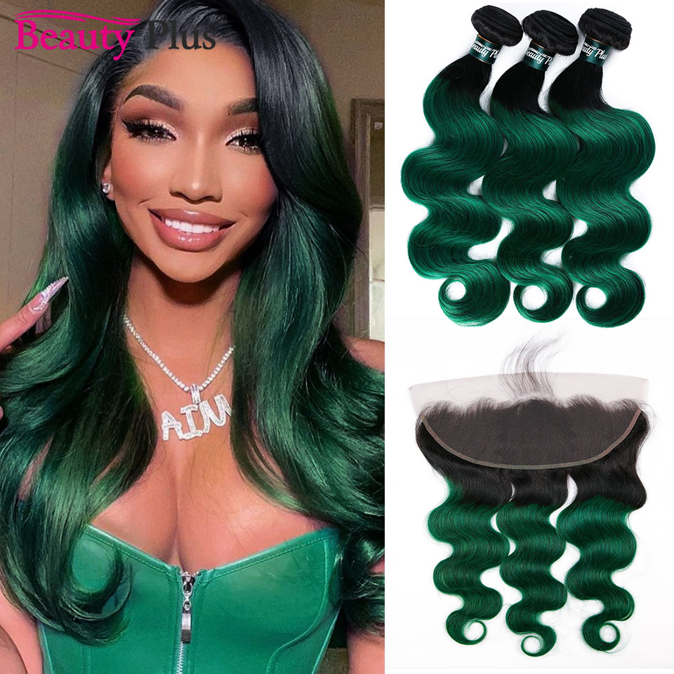 Turquoise Bundles With Frontals Pre Plucked Malaysian Body Wave With 13x4 Closure Dark Roots 1B Green Ombre Bundles With Frontal