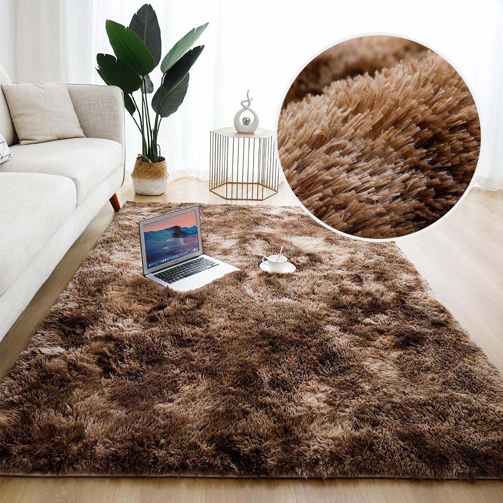 Однотонные ковры для гостиной, ковер для спальни, декоративный ковер, напольные коврики, домашний пушистый толстый коврик, длинные мягкие б...