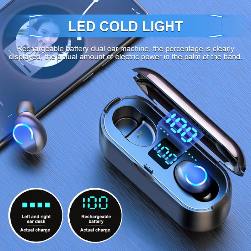 Nuevo F9-8 Bluetooth 5,0 auriculares inalámbricos TWS auriculares para correr deportivos de alta fidelidad con 2000mAh funda de carga auriculares de llamada HD