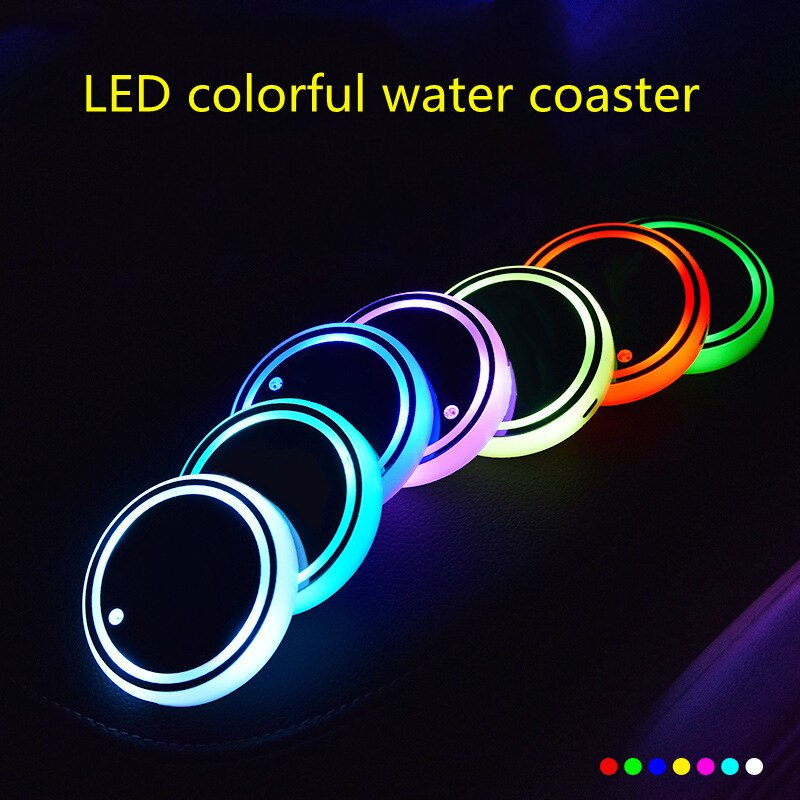 Car LED Luminous Water Coaster, Colorful Water Coaster, Car Atmosphere Light, USB Charging, Non-slip Coaster