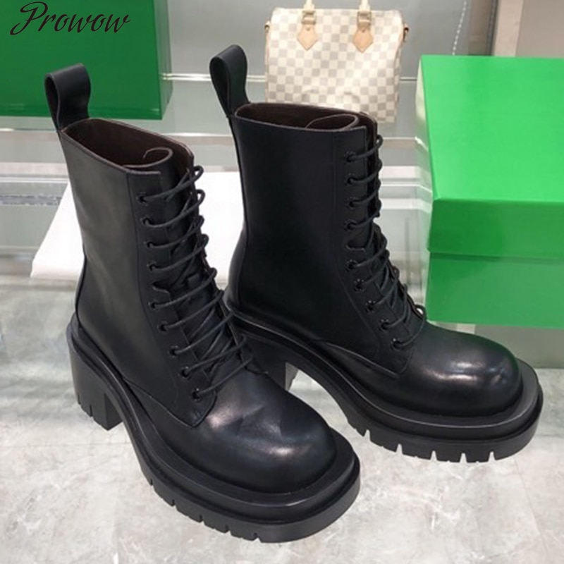 Prowow New Ladies Fashion Platform Boots Chunky Heel Wedges ANKLE Women Boots Casual Brand Thick Bot