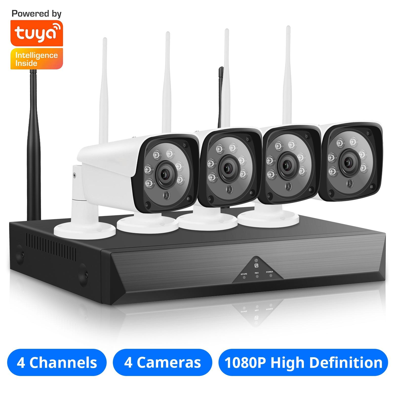 1080P 4CH نظام كاميرا أمان لاسلكية ، 4 قناة NVR مع 4 قطعة كاميرا مراقبة أمن الوطن واي فاي دعم الرؤية الليلية