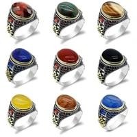 s925 sterling silver men rings with natural stone agatelapisquartzitephoenixzircon male women vintage thai turkish jewelry