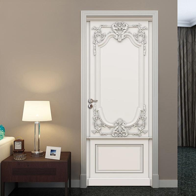 European Style Self Adhesive Door Sticker Wallpaper 3D Relief Plaster Carved Living Room Bedroom Door Mural Sticker Wall Decals