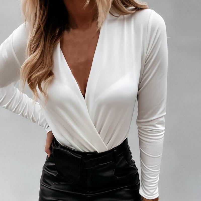 2021 mulheres de manga comprida profunda camisa com decote em v blusas topos sexy criss-cruz branco camisa preta trabalho negócios formal camisa outwear queda