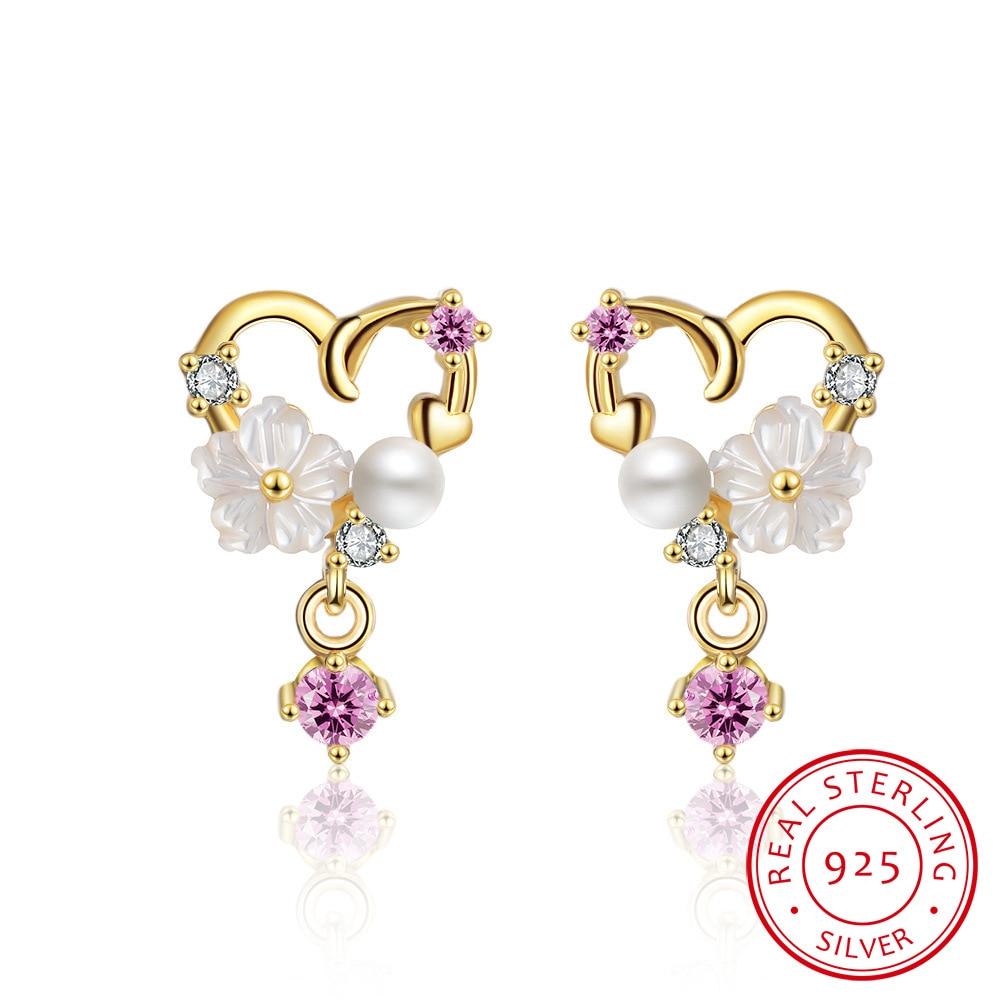 2019 New Fashion Love Heart Shape Shell Flower Tassel Earrings For Women 925 Sterling Silver oorbellen S-E758