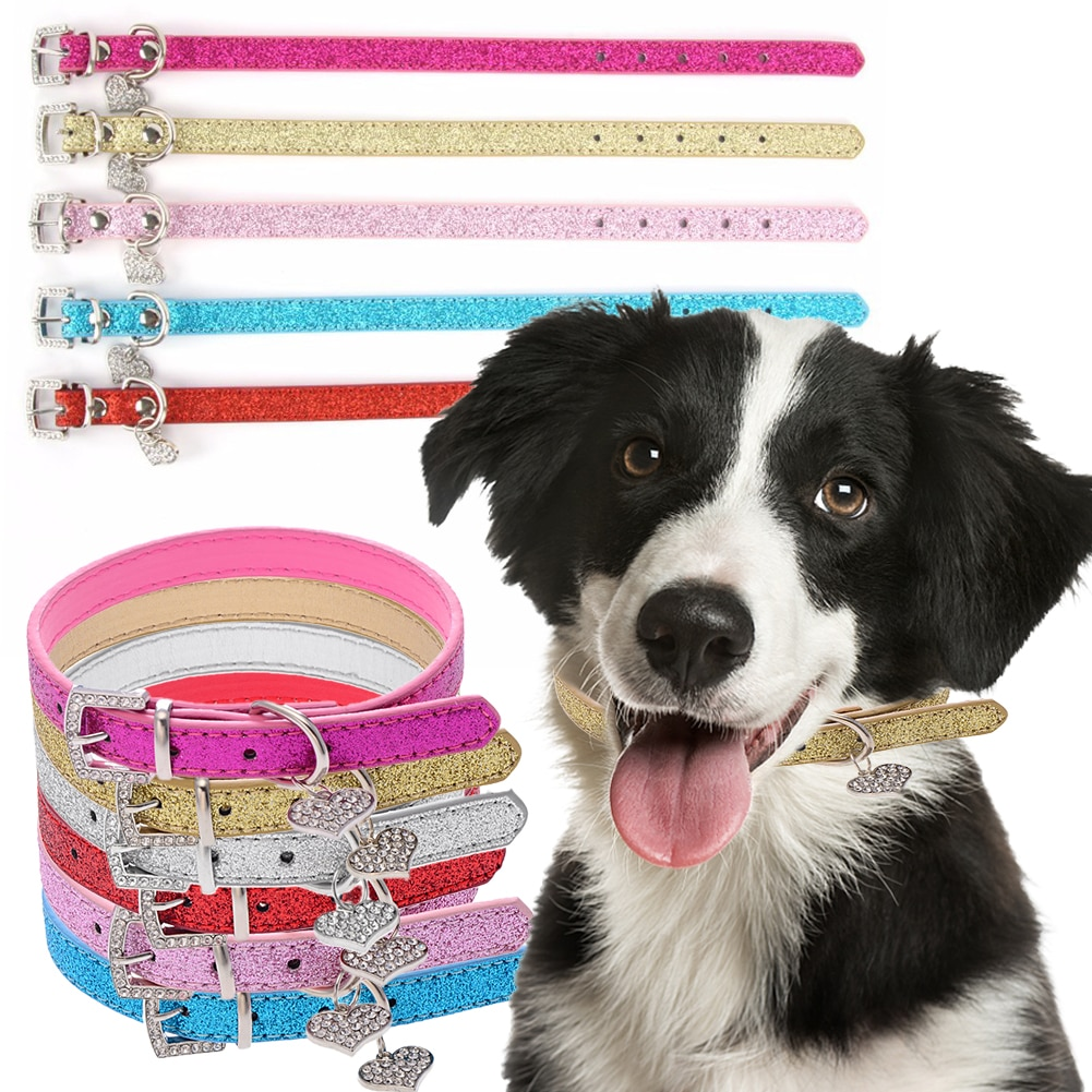 2020 aspecto elegante Collar de corazón de diamantes de imitación correa para perros suministros para mascotas Collar de cuero de PU para perros pequeños accesorios para mascotas