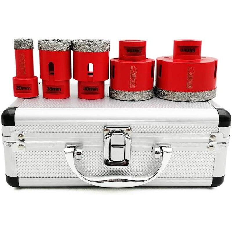 5Pcs M14 Diamond Core Bits Set Vacuum Brazed Perforating Drill Bit Set Cutting Diameters 20/35/40/50/68mm Ceramic Drill Bits
