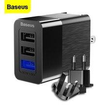 Chargeur USB 3 ports Baseus 3 en 1 Triple ue prise royaume-uni 2.4A adaptateur de chargeur mural de voyage chargeur de téléphone portable pour iPhone X Samsung