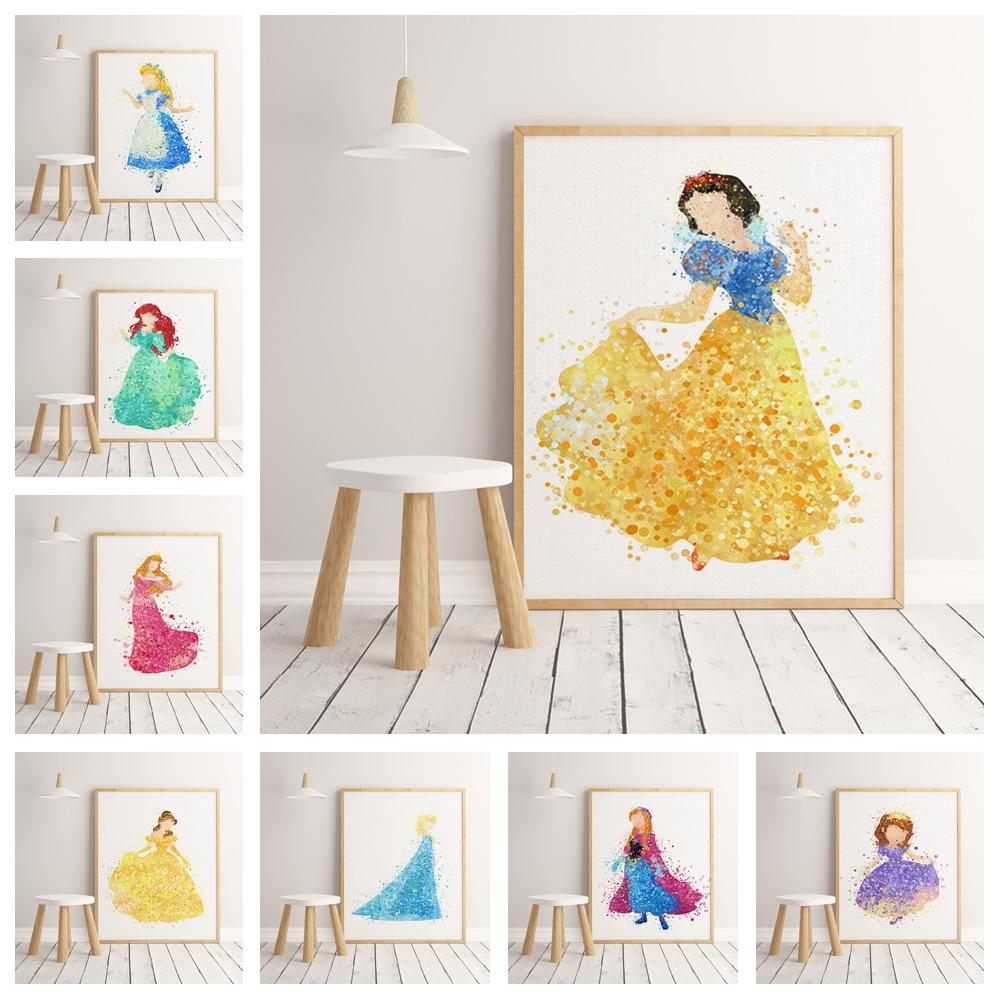 Cartoon anime princess watercolor poster hight quality canvas painting hight quality home Decor No Frame o556