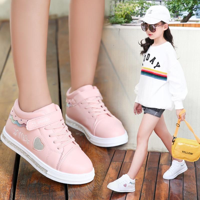 Children Shoes School Pu Tennis Shoes Lovely Girls Princess Casual Shoes Kids Running Sneakers Fashi