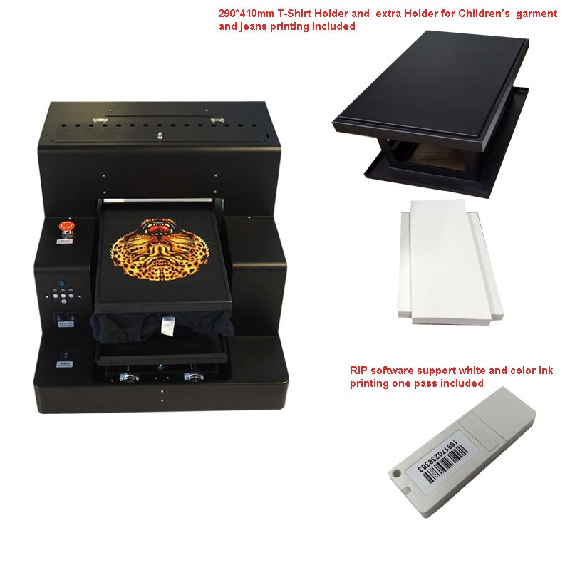 Impresora de inyección de tinta de superficie plana, tamaño A3, máquina de impresión DTG para zapatos, chaquetas, impresión de camisetas