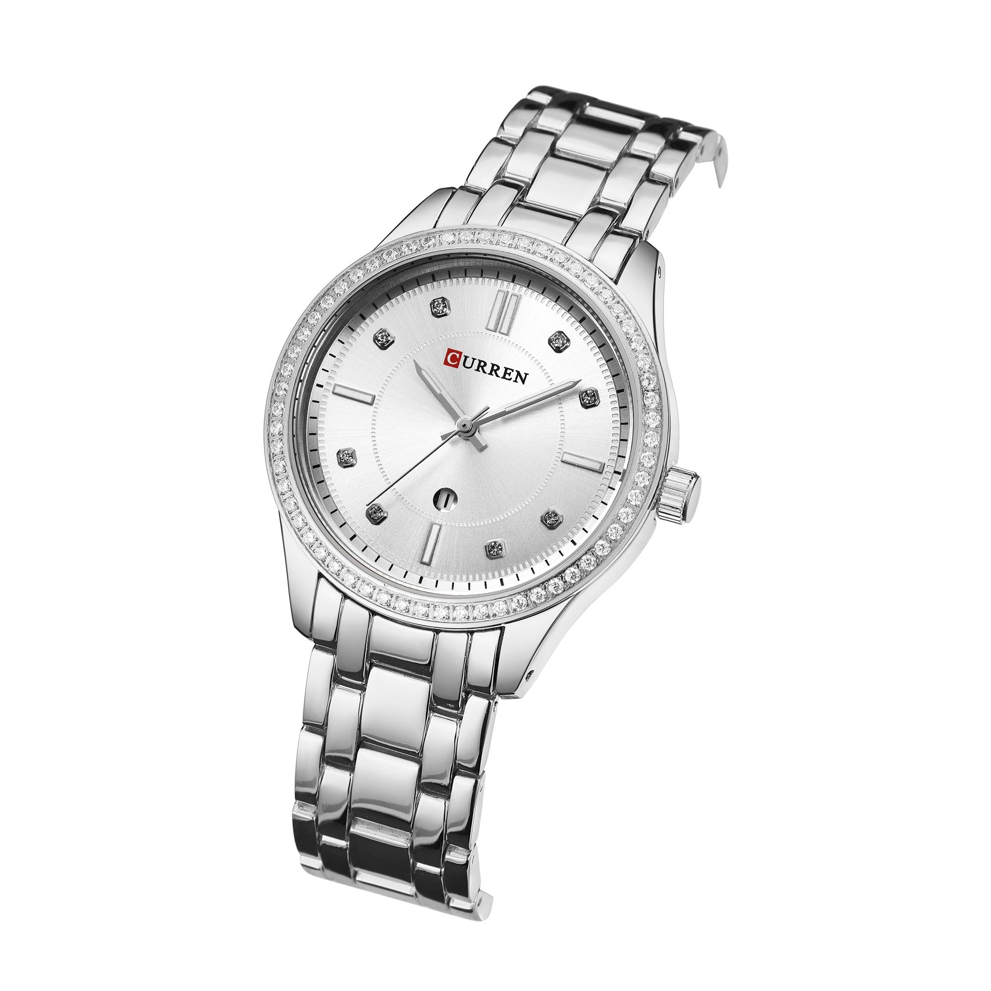 CURREN Women Watch Stainless Steel Top Brand Fashion Simples Ladies Watches Bling Rhinestones Quartz Wrist Watches Reloj Mujer curren watch relojes hombres de la marca de lujo curren reloj inteligente montre relojes curren men watch
