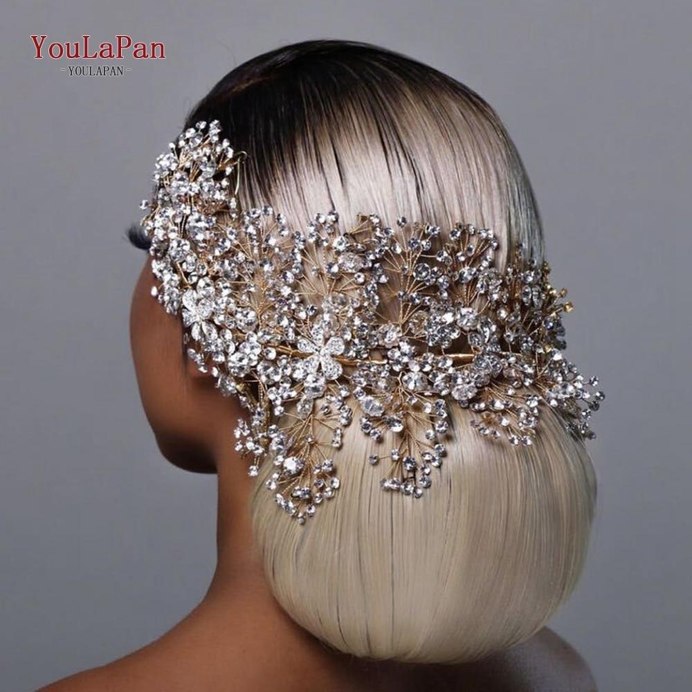 TOPQUEEN HP240 Golden Wedding Hair Jewelry Luxury Crystal Hair Ornaments Rhinestone Wedding Crown Woman Tiara Pageant Crown