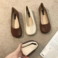 shoes woman microfiber leather comfy flats split toe slippers soft bottom loafers solid brief ladies moccasins 35 40