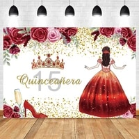 pink red flower princess girl queen crown woman customize baby birthday party photographic background photography backdrop props