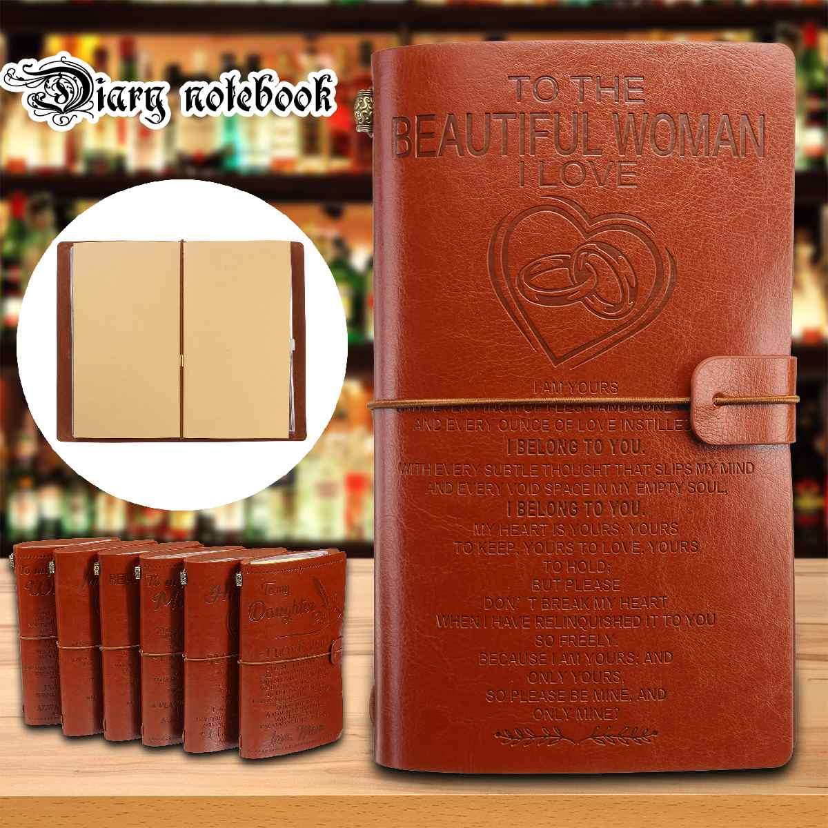 A6 Vintage Leder Abdeckung Journal Notebook Tagebuch Zu Tochter/Sohn/Mein Mann/Frau Reisenden Notizblock Schreibwaren Versorgung geburtstag Geschenk