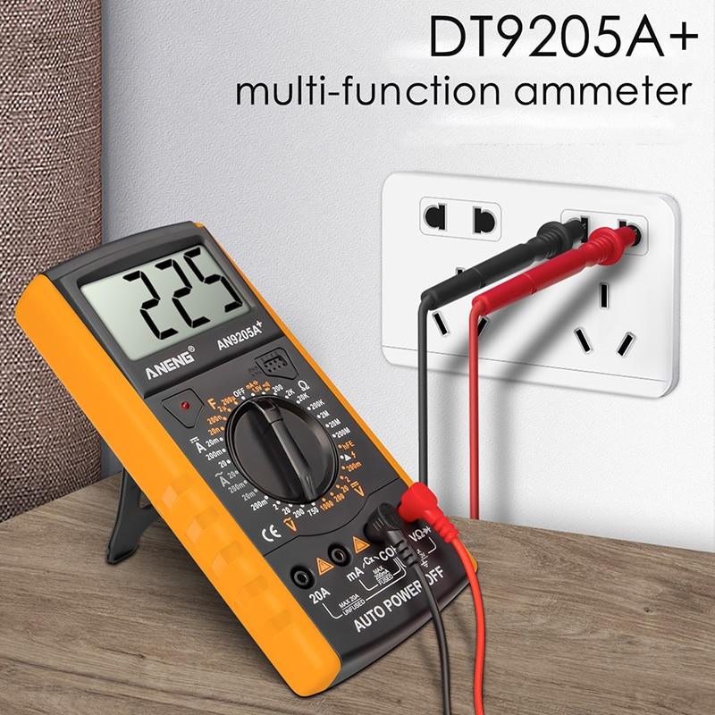 DT9205A+ Digital Multimeter AC/DC Profesional Transistor Tester Electrical esr NCV Test Meter Analog Auto Range Multimetro