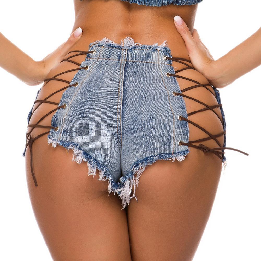 Sexy Women Denim Shorts Hollow Out Adjustable Criss-Cross Club Style High Waist Button Drawstring Fly Tassel Blue Short Jeans