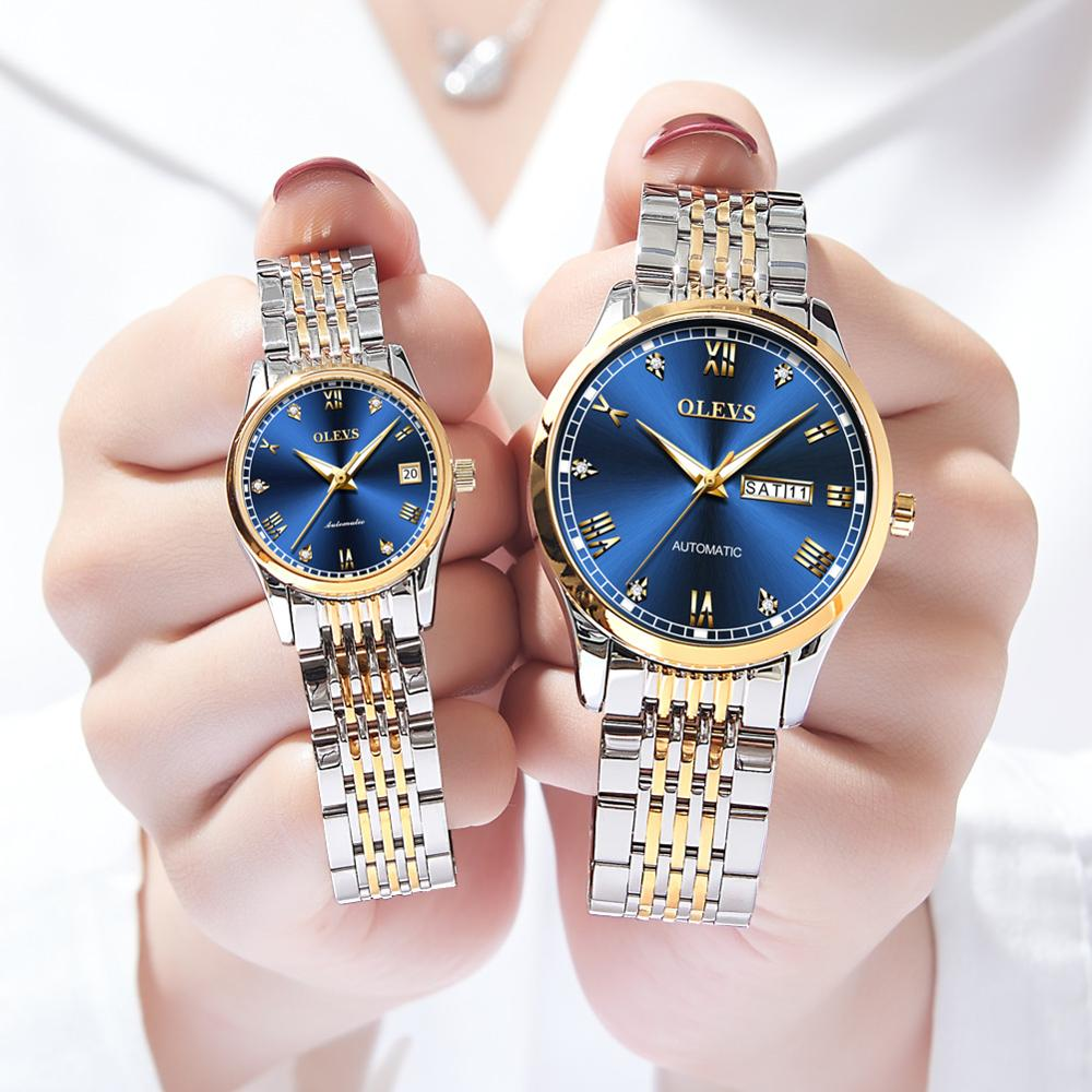OLEVS Luxury Brand Couple Automatic Mechanical Watches Luxury Brand Waterproof Men's And Women's Valentine's Day Watch Gift