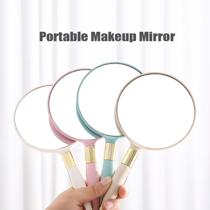 Handle Mirror Makeup Mirror Square Round Handheld Vanity Mirror Princess Hand Mirror SPA Salon Makeu