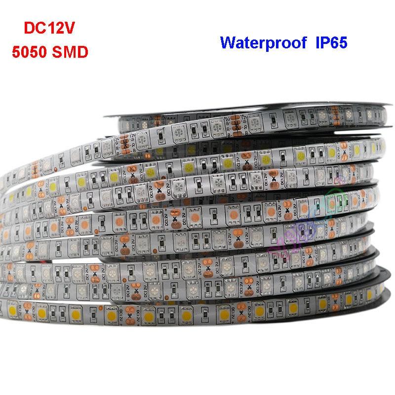 12V 5050 SMD Flexible LED Strip Light 5M Lighting Strip IP30/IP65 Christmas desk Decor lamp tape Free Shipping