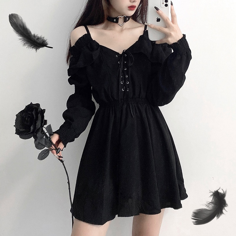 Women Dress Plus Size 4XL Lace Up Black Autumn 2020 Sexy High Waist Femme Dresses Off Shoulder Long Sleeve Gothic Clothes