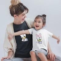 disney family matching clothes daisy kawaii dropship black white t shirts korean style short sleeve adult unisex baby girl boy