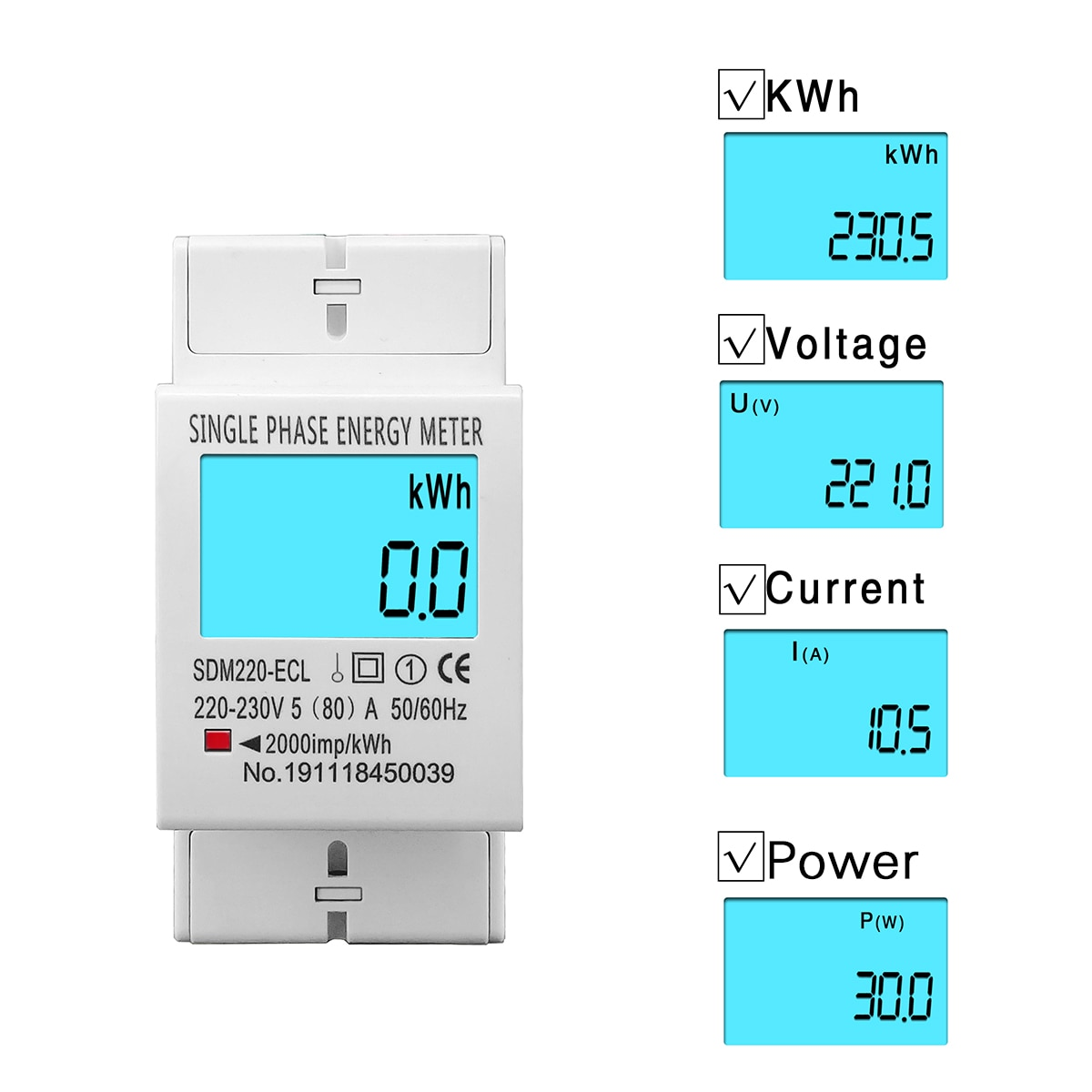 Medidor digital de energia 80a din rail monofásico, tela lcd digital, medidor de consumo de energia kwh ac 220v 230v 50hz/60hz Medidores de energia    -
