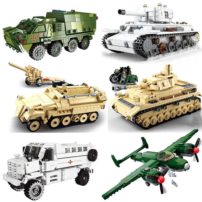 Ww2 Military Vehicles guided Tank missile Sets SWAT Army City Police T34 Germany UK US Building Blocks World War ii artillery