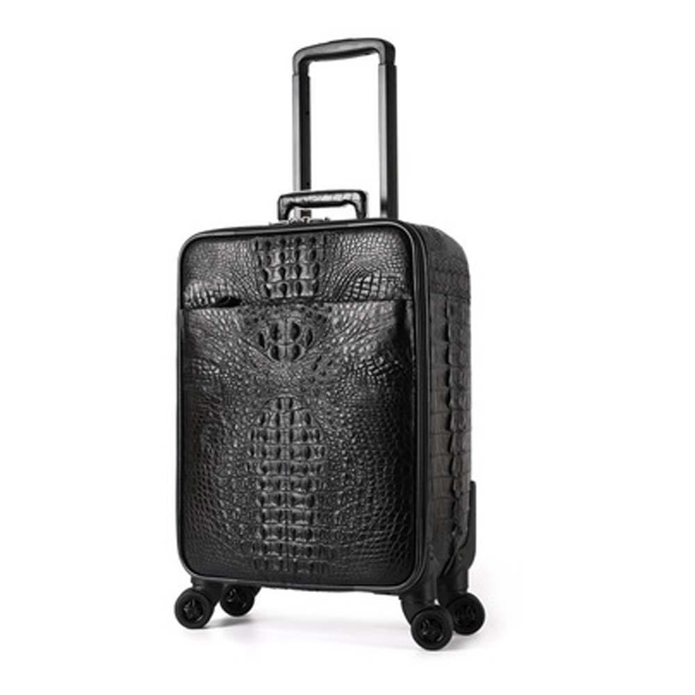 hujingsha Crocodile leather luggage box  universal wheel Pull rod box men and women 20 inch password  Crocodile leather box