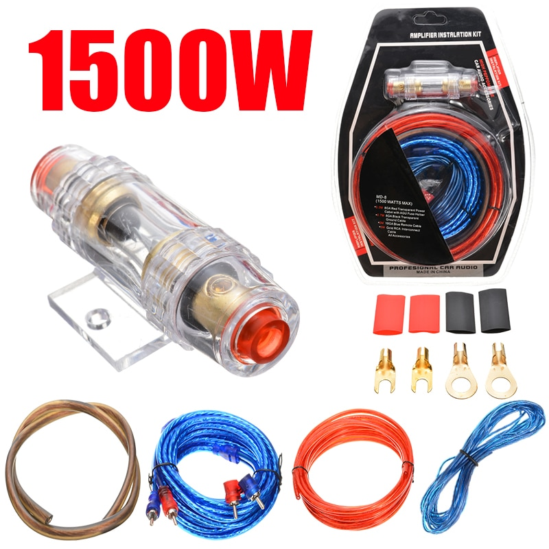1500W Car Audio Kit Amp Amplifier RCA Sub Woofer Wiring Kit Wire Cable Fuse For Electrical Equipment