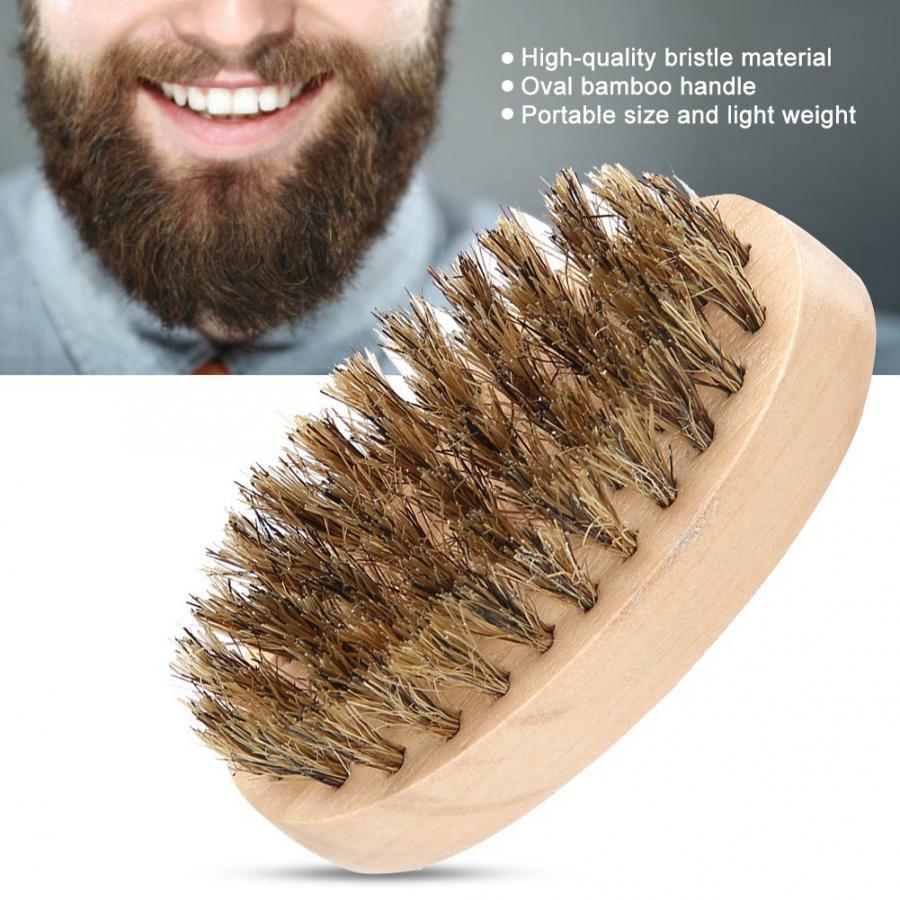 Peluquero profesional hombres suave cepillo barba cerdas peine de bigote mango de bambú ovalado accesorios para moldear la barba