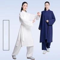 spring autumn taiji suits female taijiquan practice clothes sanbao collar linen wudang taoist clothes martial arts male clothes