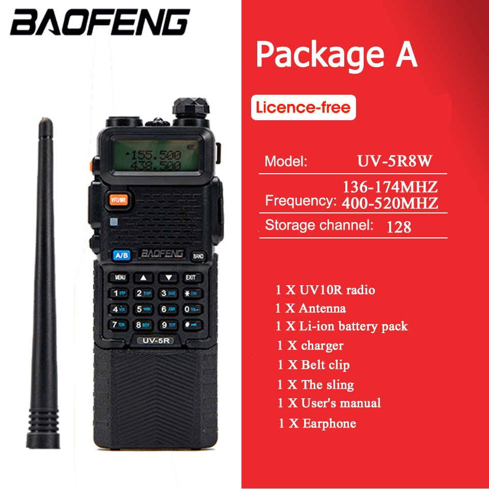 BaoFeng Walkie Talkie UV-5R Two Way cb Radio Upgrade Version Baofeng uv5r 128CH 8W VHF UHF 136-174Mhz & 400-520Mhz