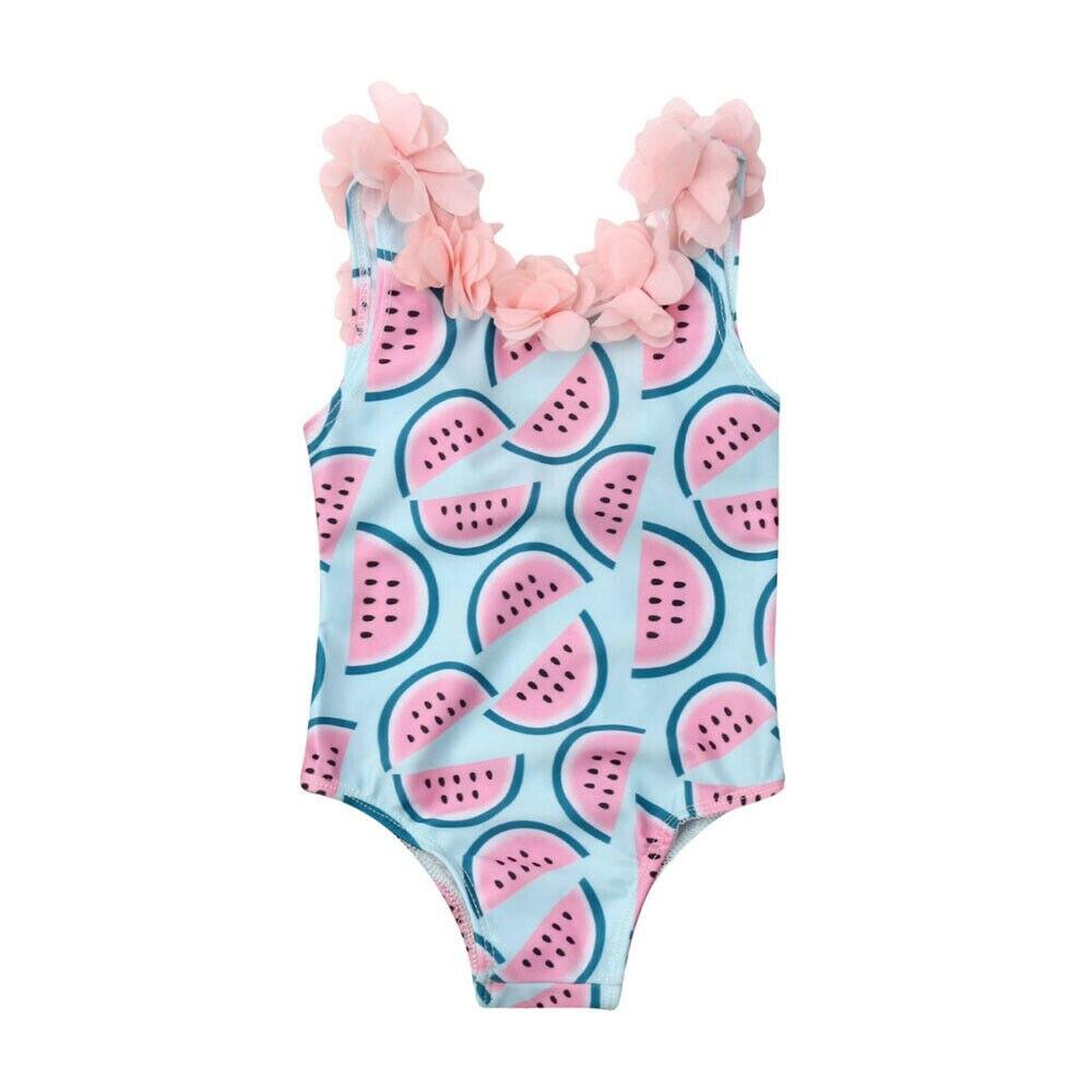 Toddler Infant Baby Girls One-Piece Swimsuit Watermelon Swimwear Flower  Backless Bikini Swimwear Swimsuit