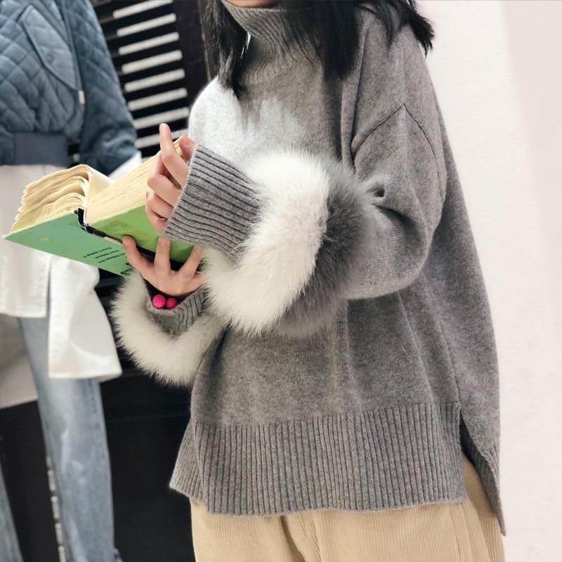 Alta Qualidade Mulheres Pullover Sweater Feminino Jumper Jumper Patchwork Real da pele do coelho das Mulheres Blusas Soltas grossas de Inverno De Malha Oversize camisola Outwear