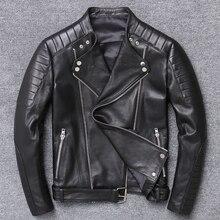 AYUNSUE 2020 Primavera Nuovo Cappotto degli uomini di Modo del Cuoio Genuino per Gli Uomini Biker Giacca di Pelle Sottile Gira-giù il Collare cerniera Y-003