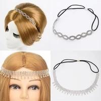 fashion rhinestone bridal elastic hair band head chain hair jewelry for girl luxury crystal tassel headbands wedding tiara crown