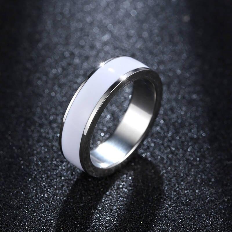 Joyería exquisita para chica, anillo blanco de acero inoxidable, anillos para mujer, nueva moda personalizable