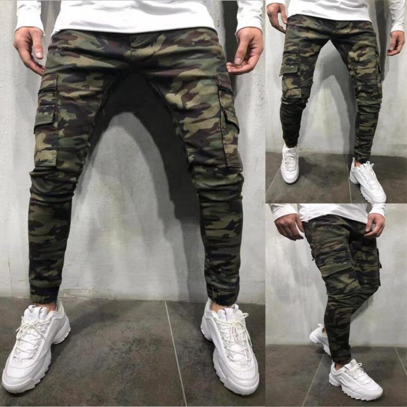 Мужские джинсы в камуфляжном стиле, брюки-джоггеры в стиле милитари, облегающие брюки-карго со множеством карманов, однотонные джинсы-каран...