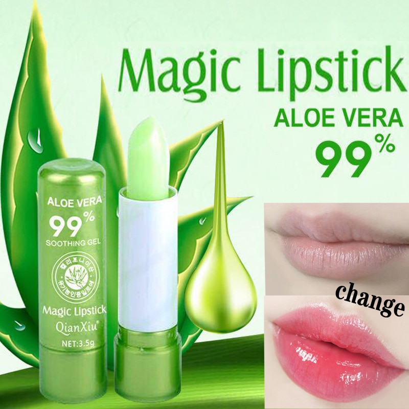 1pcs  Aloe Vera Lipstick Color Changing Lip Balm Lasting Moisturizing Moisturizing Waterproof Temperature Change Lip Balm недорого