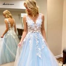 2020 Vestido de Noiva Plus Size Prom Dress BLue 3D Flowers Appliques Sexy Women Evening Dress Tulle Long Party Gowns Open Back