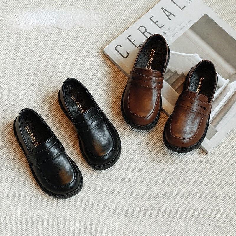 Children's PU Leather Shoes Spring Boys Black Single Shoes Girls Retro Pedal Peas Shoes Spring & Aut
