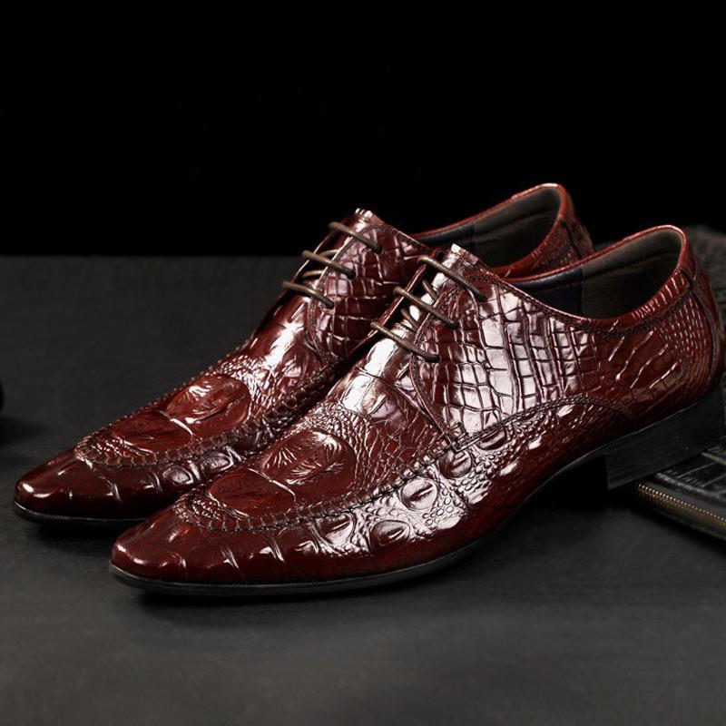 QYFCIOUFU 2019 الكلاسيكية أحذية رسمية الرجال الاسلوب المناسب جلد طبيعي أكسفورد فستان أحذية الرجال اليدوية الإيطالية تمساح الأحذية